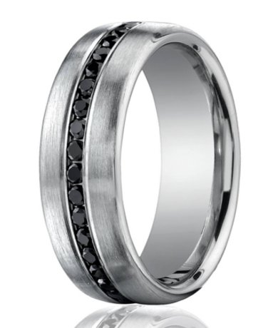 Designer Platinum Band 20 Burnish Set Black Diamonds