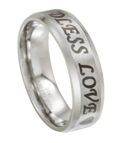 Endless Love Stainless Steel Mens Wedding Ring with Hearts