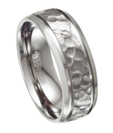Mens Titanium Wedding Ring with Hammered Design