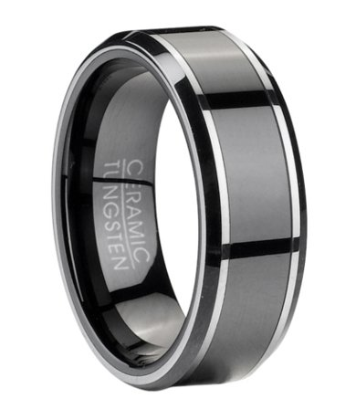 Men S Tungsten Wedding Ring With Black Ceramic Inlay