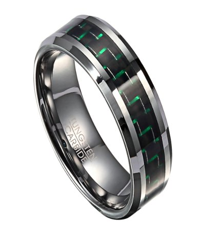 Tungsten Men S Wedding Band With Green Carbon Fiber