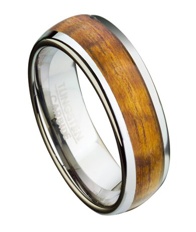 Mens Tungsten Ring With Koa Wood And Domed Profile