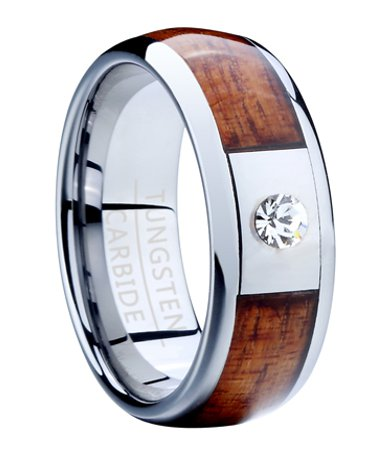Men S Tungsten Ring With Koa Wood And Cz
