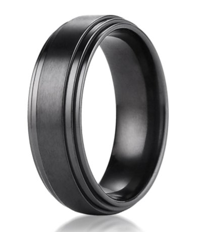 Mens Wedding Bands Titanium.Mens Black Titanium Wedding Ring With Double Polished Step Down Edge 8mm