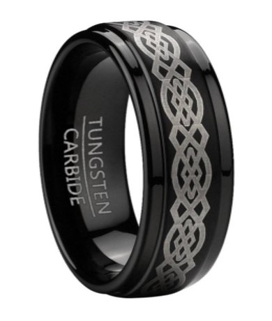 This men's black tungsten wedding band features a polished finish and an eye-catching Celtic knot design. Click for online only pricing.