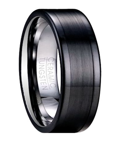 mens ceramic wedding rings mens black ceramic ring glossy finish ...