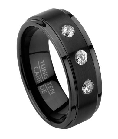 Mens Black Tungsten Wedding Band with CZ